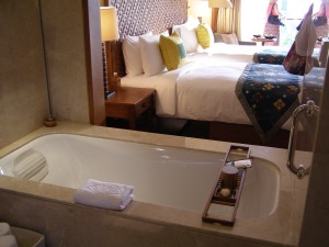 Ich genieße es, wenn ich mal in einem schönen Hotel übernachte.