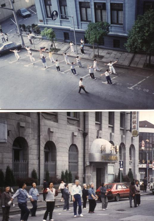 Tai Chi vor dem Pujiang Hotel 1991