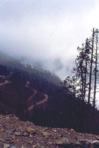 Jiu Strasse im Nebel