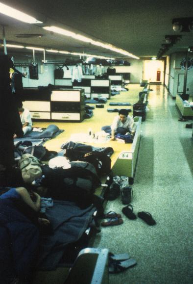 Der große Schlafsaal in der Fähre nach Südkorea