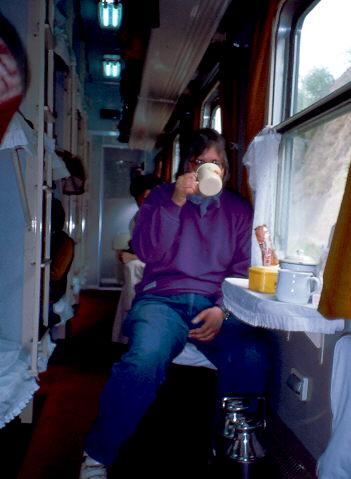 China 1987: Ich im Zug unterwegss