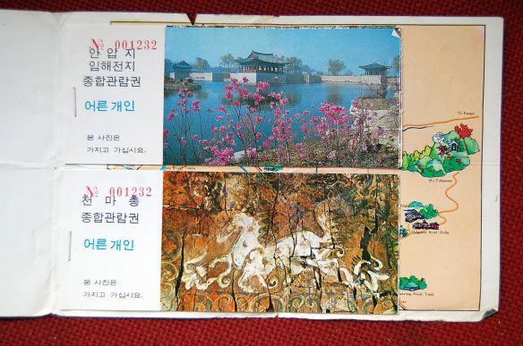 Die Reste meines Gutscheinheftes. Ich hatte mir, als ich mich entschloss, länger in Gyeongju zu bleiben noch ein zweites gekauft.